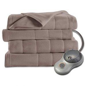 Sunbeam Quilted Fleece Heated Blanket, Queen, Mushroom
